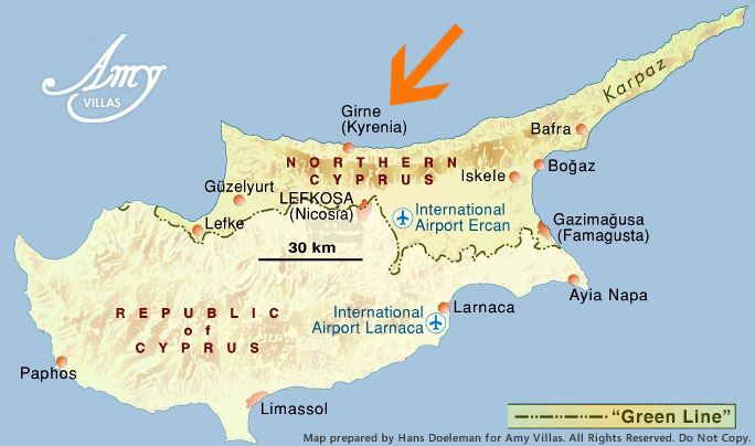 North Cyprus Map showing Kyrenia (Girne)