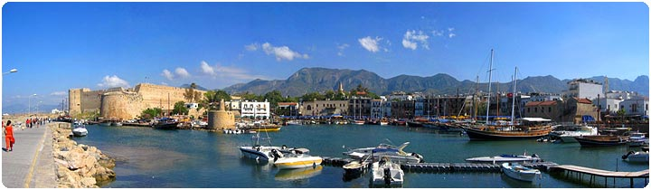 Kyrenia Harbour & Castle in North Cyprus (Panoramic View)